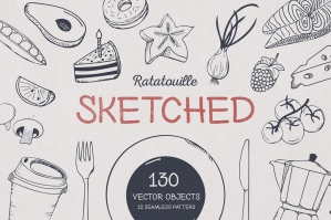 Ratatouille Sketched Food Graphics
