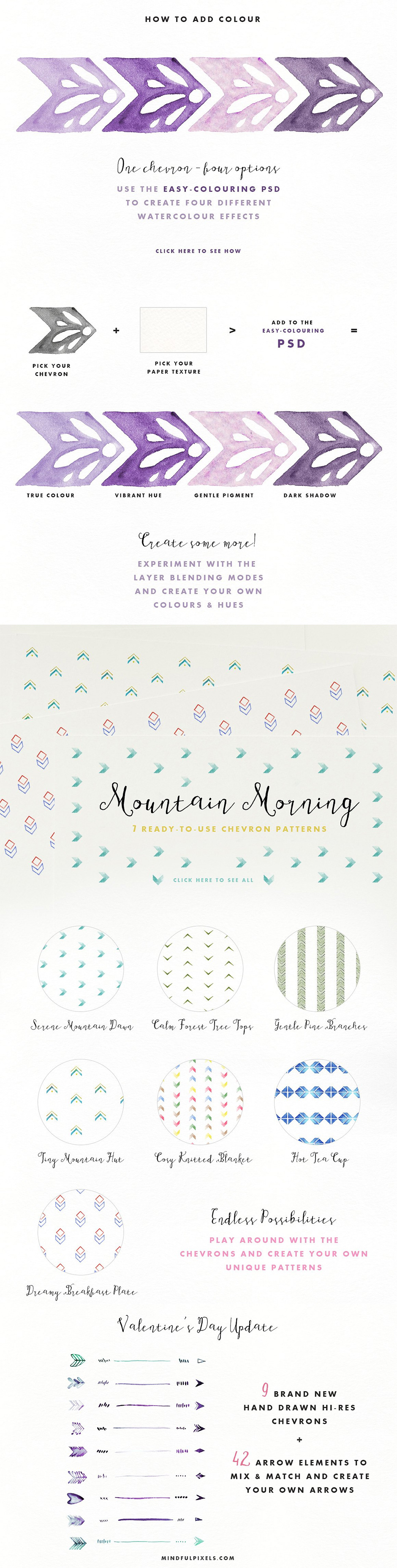 Watercolour Chevron Pack