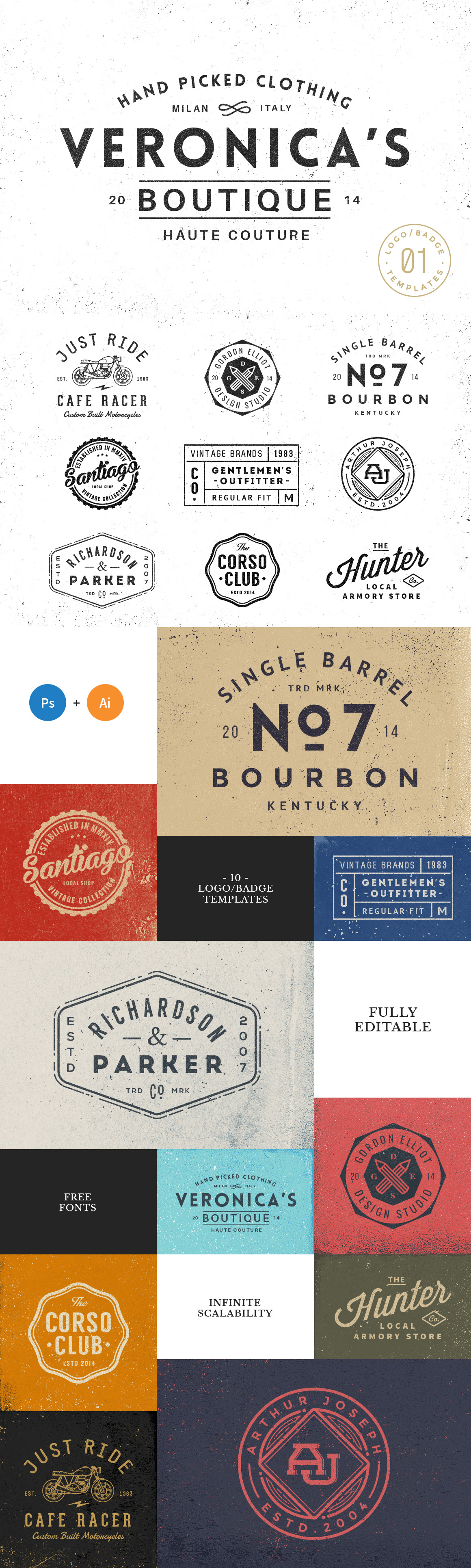 10 Logo & Badge Templates Vol. 1