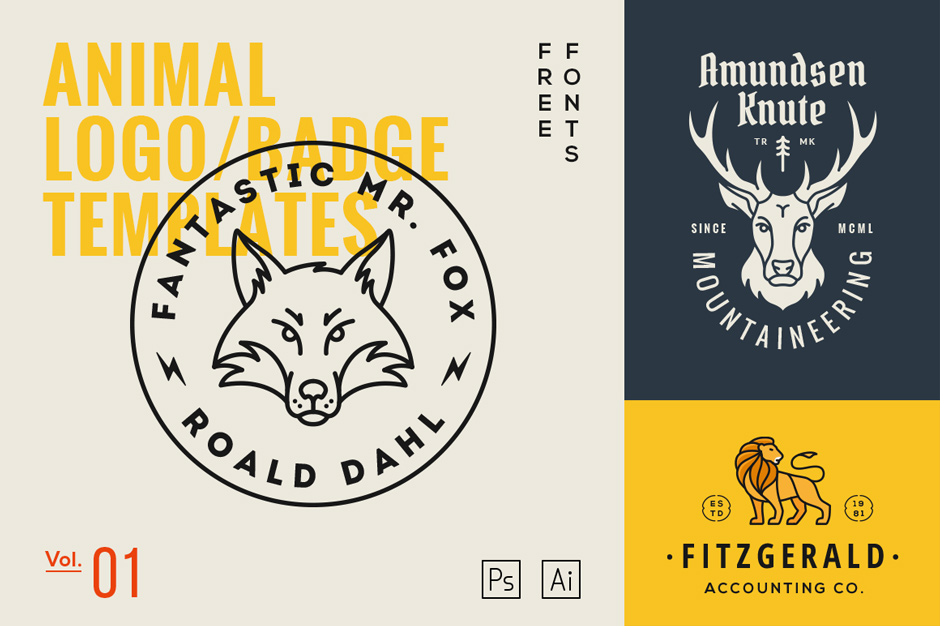 …Animal Logo Badge Templates Vol. 1