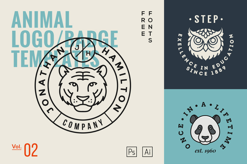 The second menagerie of amazing animal logo templates for Work badges template