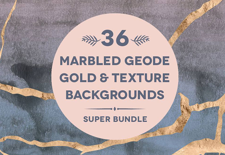 36 Marbled Geode Gold & Watercolors