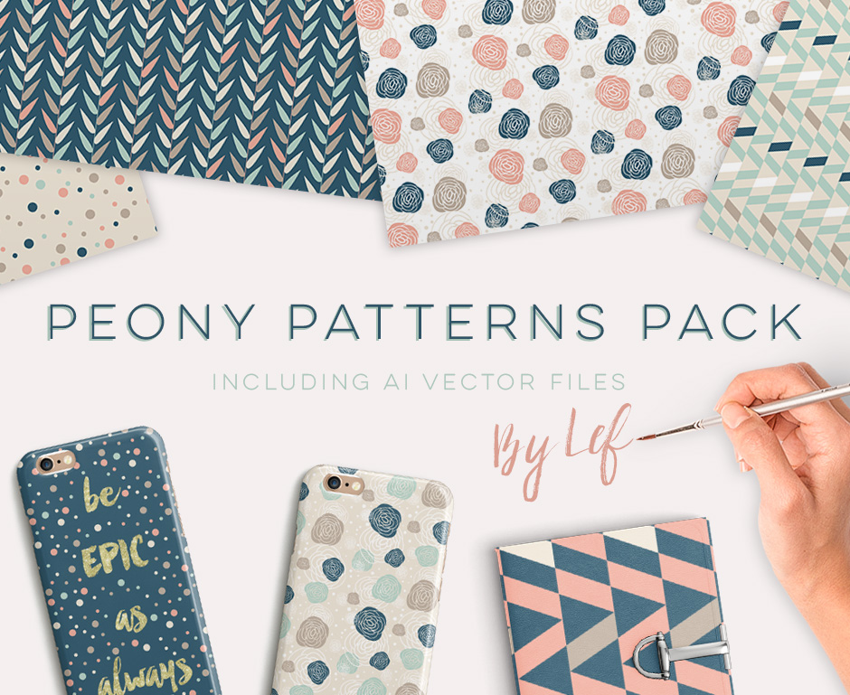 Geometric Peony Floral Patterns