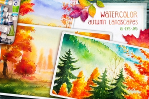 Autumn Watercolor Landscapes