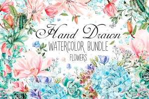 Hand-drawn Watercolor Flowers Bundle 3