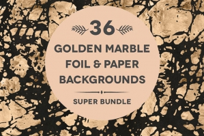 36 Golden  Foil Marble Backgrounds