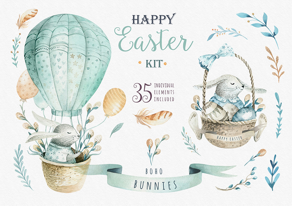 Happy Easter Bunnies & Elements