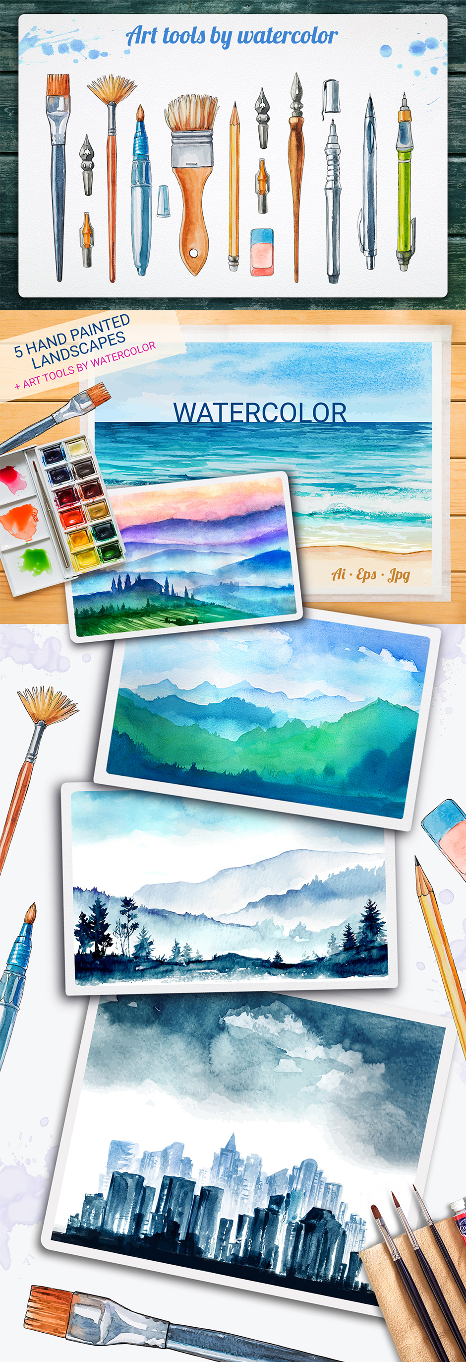 Watercolor Vector Landscapes Vol. 1