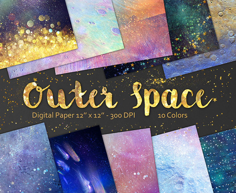 10 fantastic 39 out of this world 39 space digital paper for Outer space design richmond