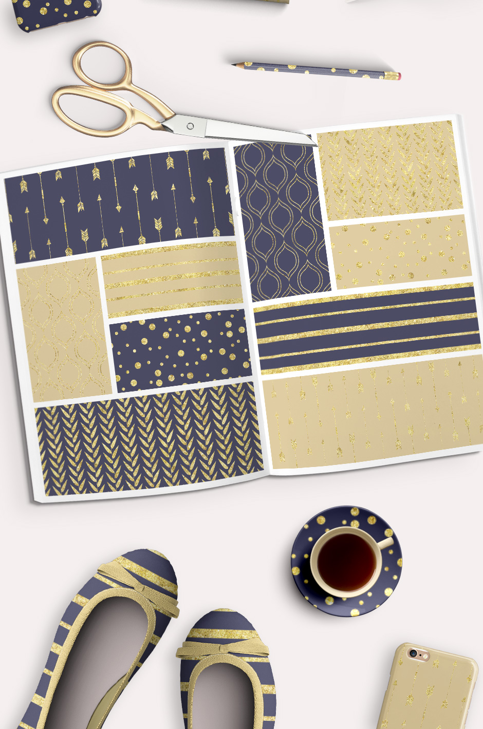 Gold and Navy Blue Patterns