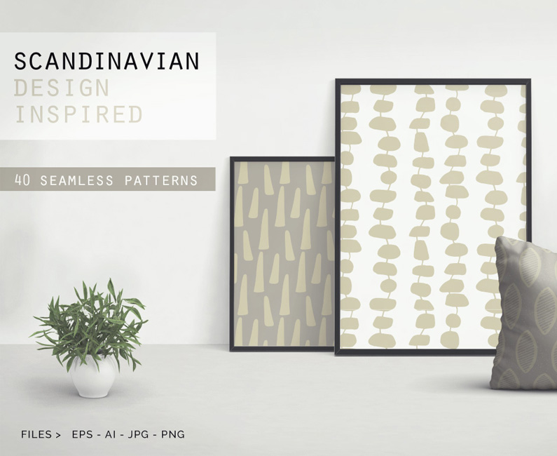A fantastic set of 40 seamless scandinavian patterns for Famous scandinavian furniture designers