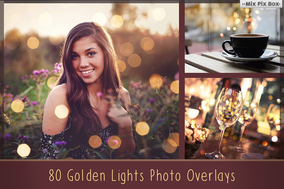 80 Golden Lights Bokeh Overlays