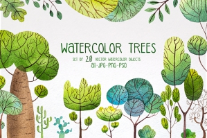 Watercolor Trees Set 2