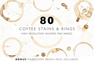 80 Coffee Stains, Rings and Splatters