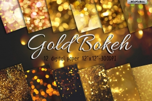 Digital Gold Bokeh Paper
