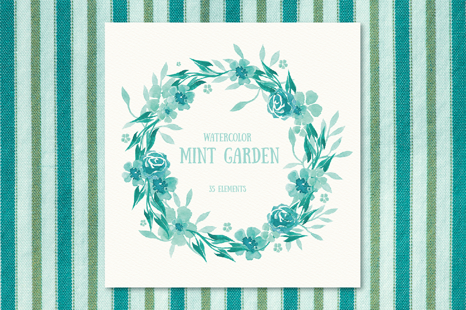 Mint Garden: Mint Colored Floral Watercolor Set