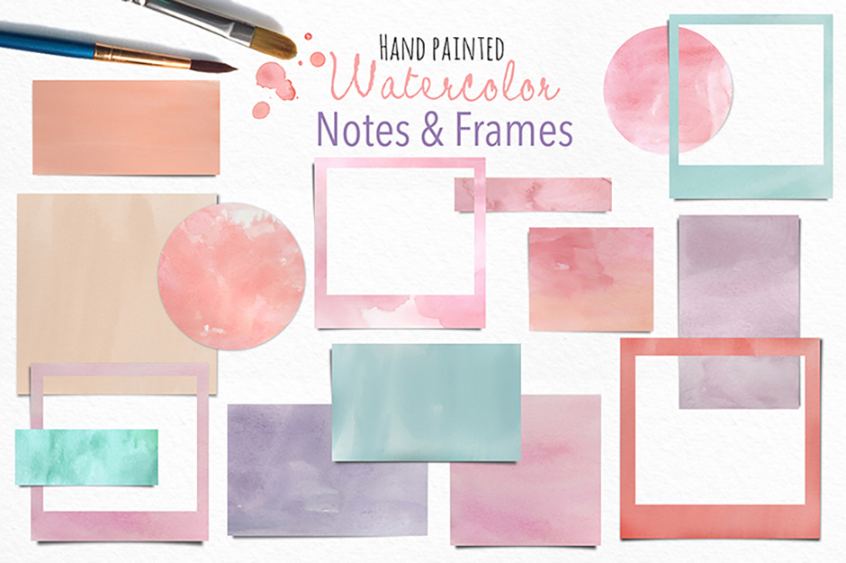 Watercolor Frames and Notes