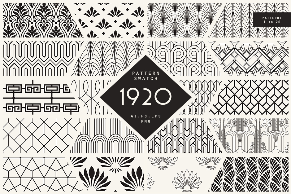 1920 Art Deco Seamless Patterns
