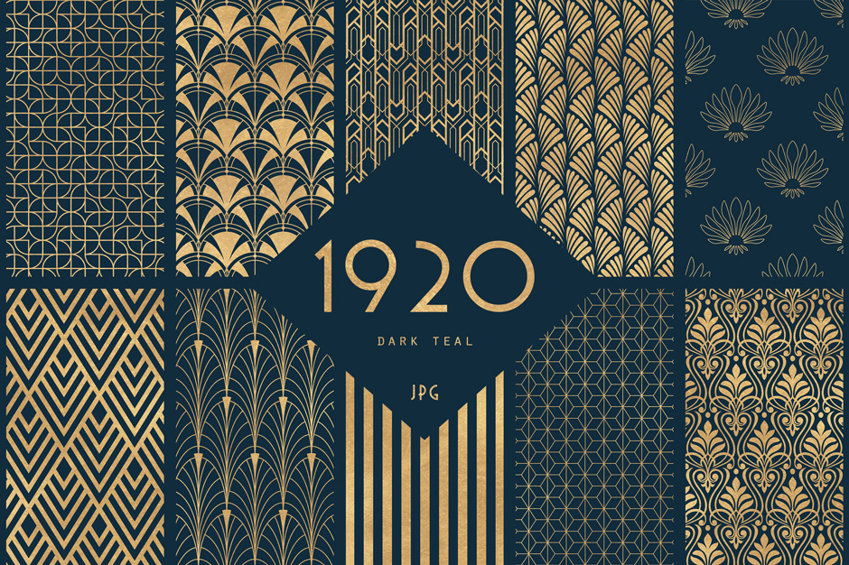 The Ultimate 1920\'s Art Deco Patterns Bundle To Create Glamour And ...