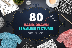 80 Seamless Hand Drawn Patterns & Textures