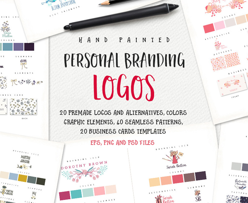 get creative with these personal branding logos 20 packs