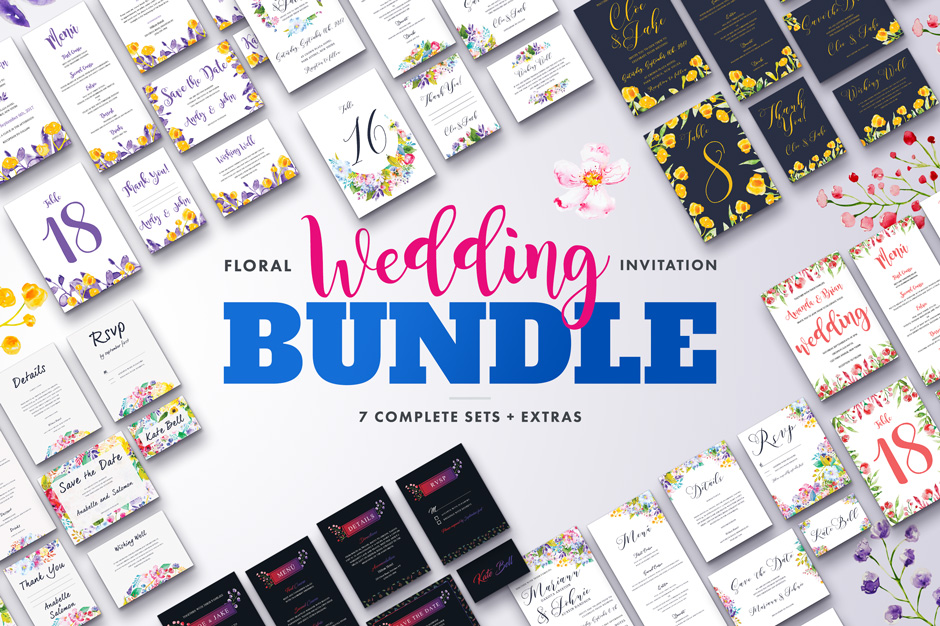 Floral Wedding Invitation Bundle