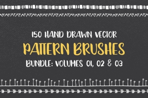 Hand Drawn Pattern Brushes Bundle 01, 02 and 03