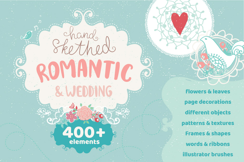 Romantic Wedding Hand Drawn Elements Set