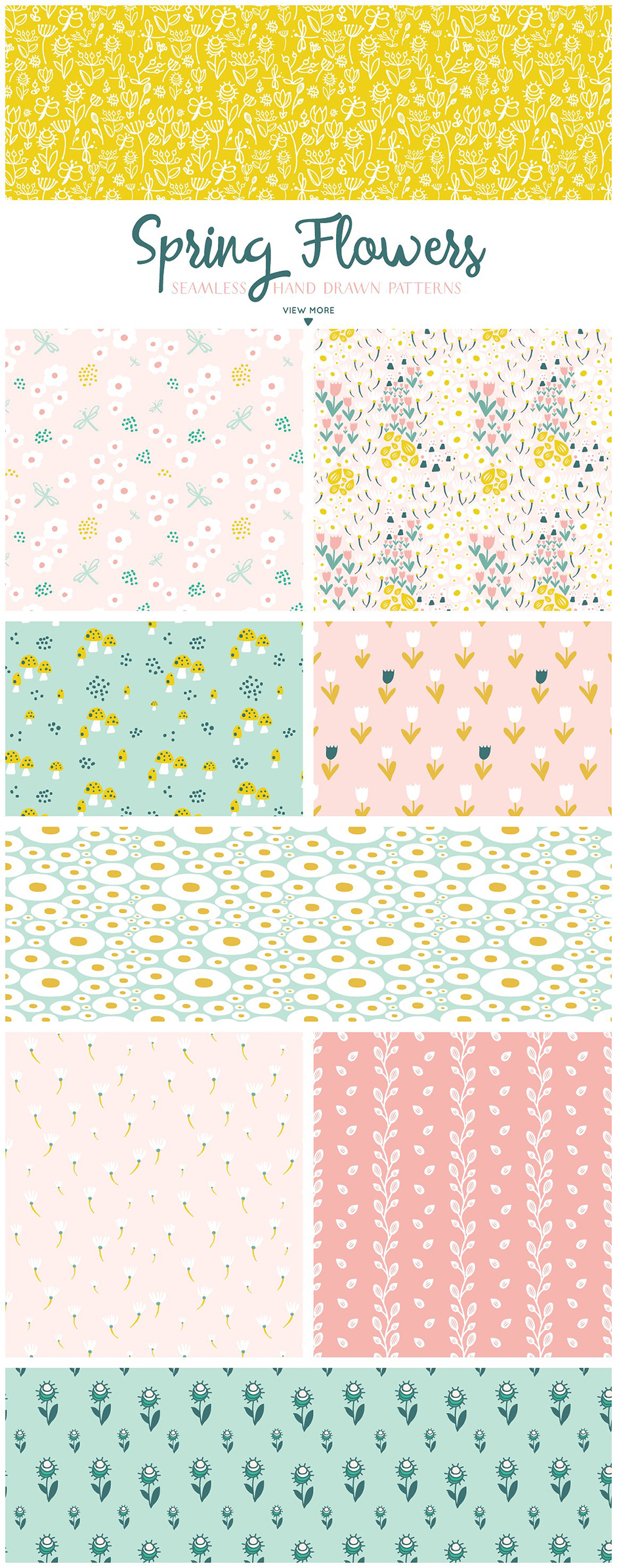 Spring Flowers Patterns Collection