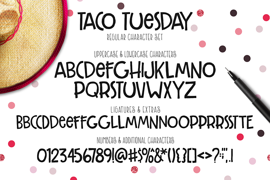 Taco Tuesday Hand Drawn Font