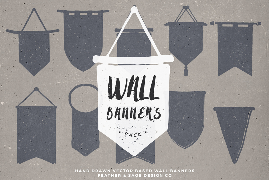 20 Vector Hand Drawn Wall Banners
