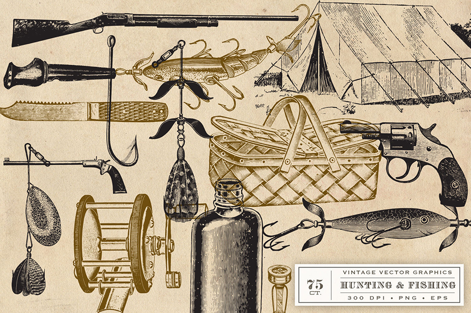 A Vintage Collection Of Hunting And Fishing Graphics: 75 ...