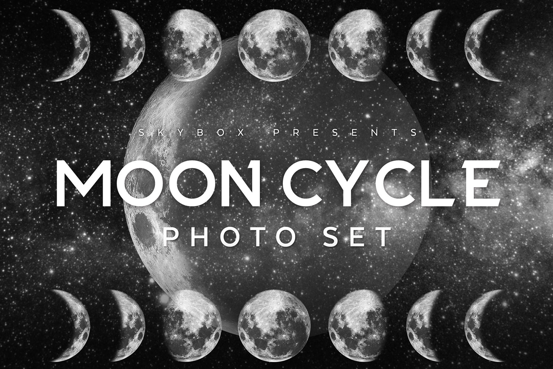 The Ultimate Moon Cycle Photoshop Set: 23 Large Hi-Res Moon Phase Images