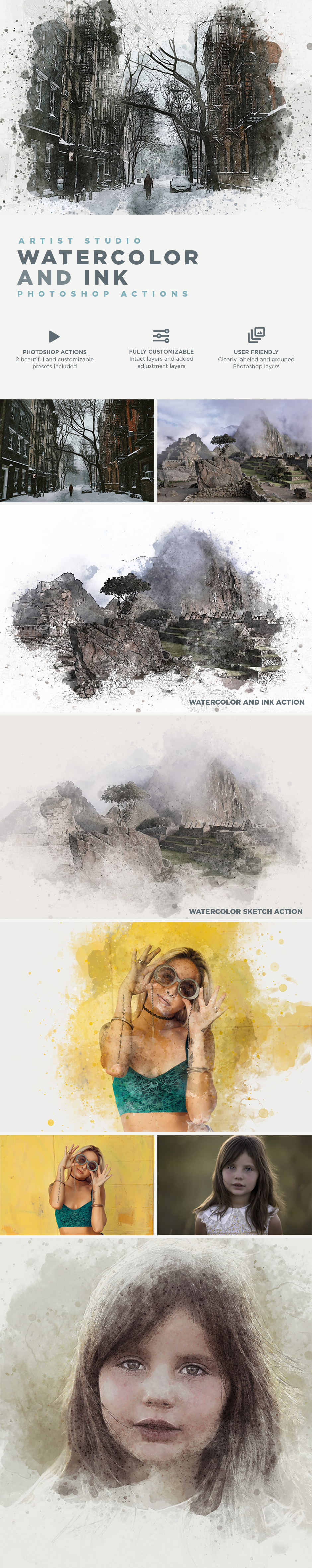 Artist Studio Watercolor Actions