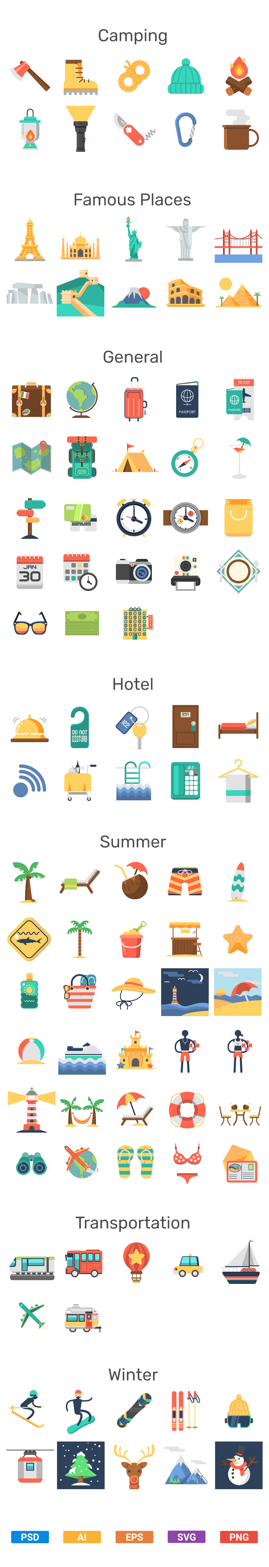 travel flat icons