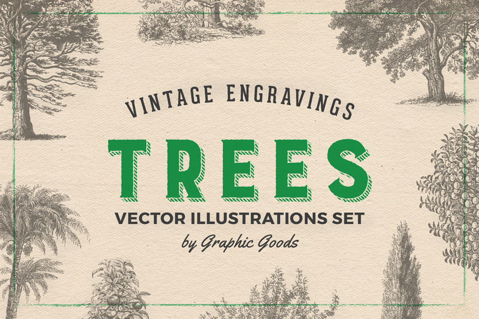 Vintage Tree Illustrations Set