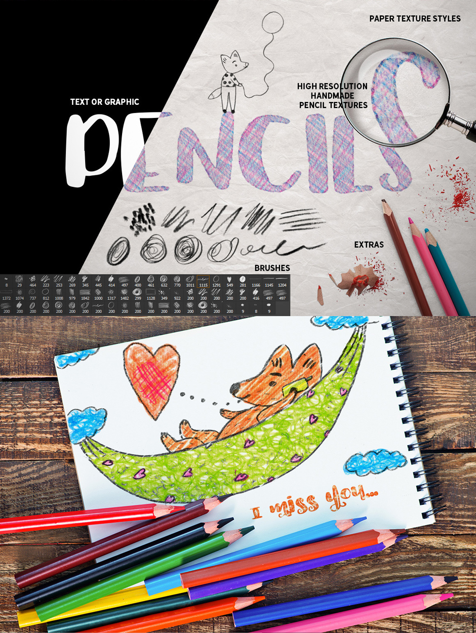 Colour Pencil Box Photoshop Styles