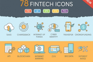 Finance Icon Set with Fintech Focus