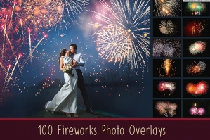 100 Fireworks Photo Overlays