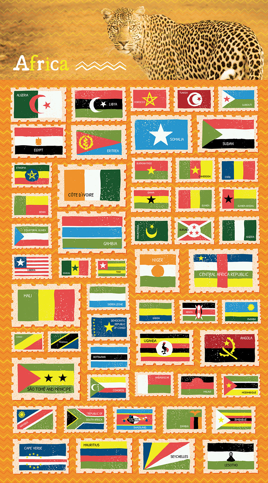illustrated world flags