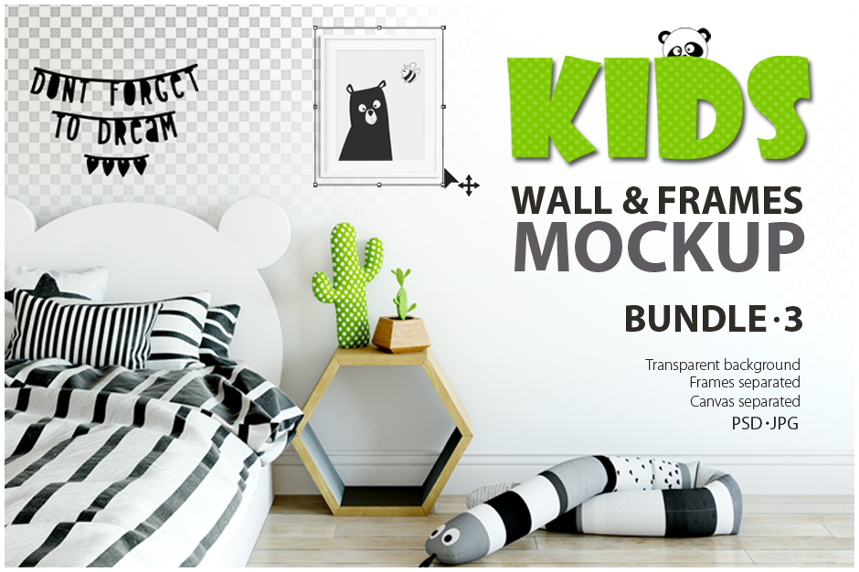 Kids wall frames mockup bundle 3