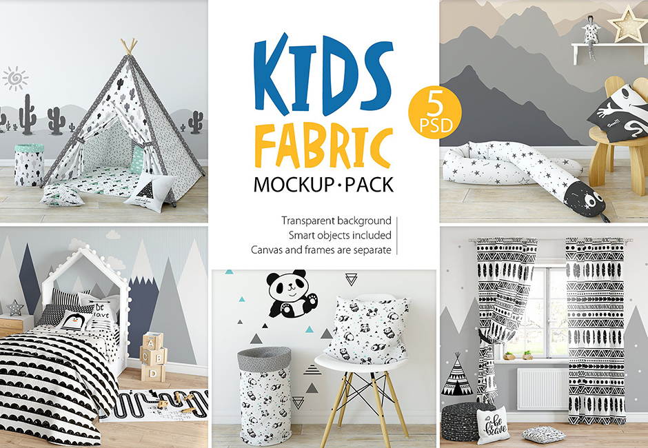 Kids Fabric Mockup Pack – 1