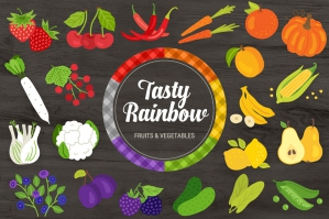 Tasty Rainbow Fruit and Veg Vectors + Bonus Seamless Patterns