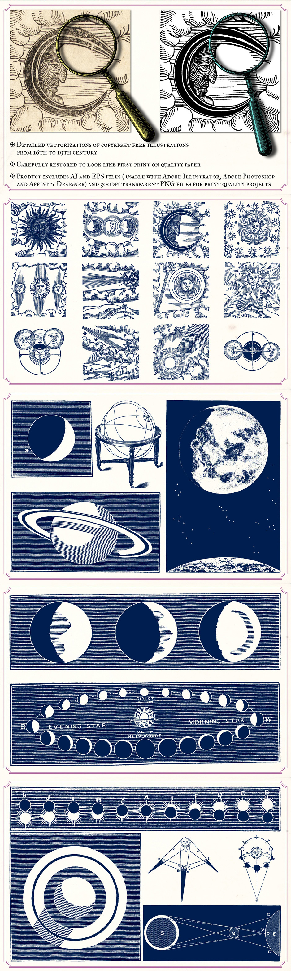 vintage space and astronomy illustrations