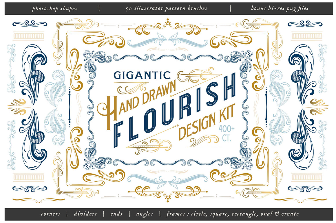 Hand Drawn Flourish Design Kit