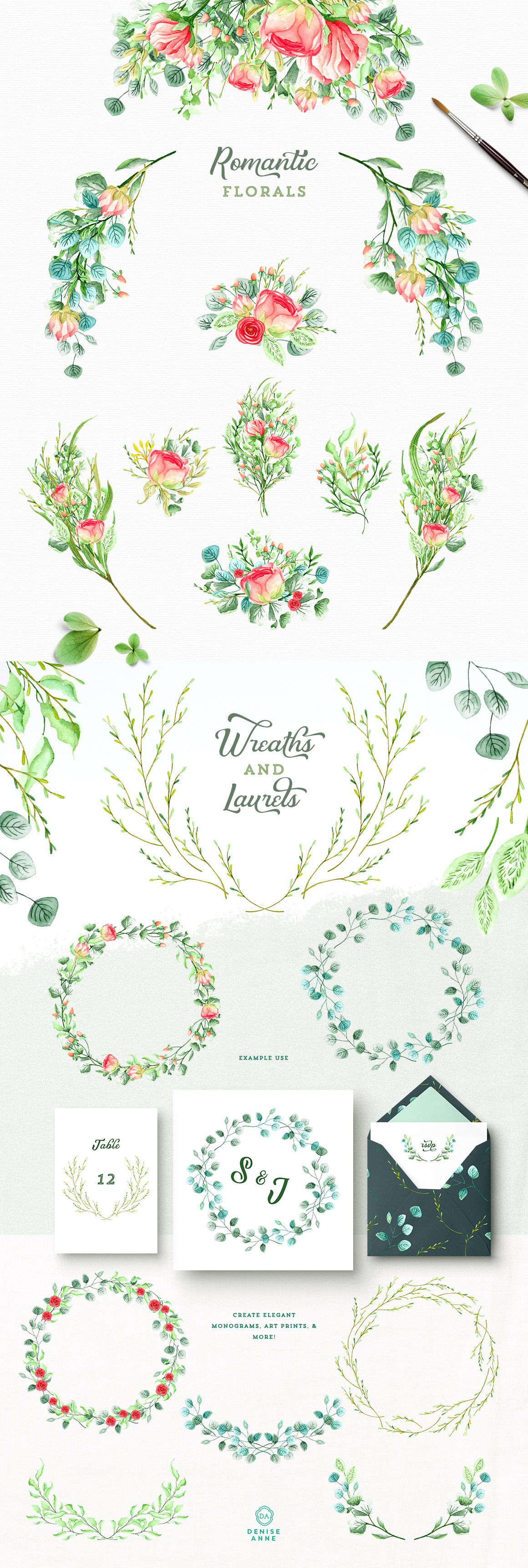 Sweetly Southern Garden Watercolor Floral Graphics