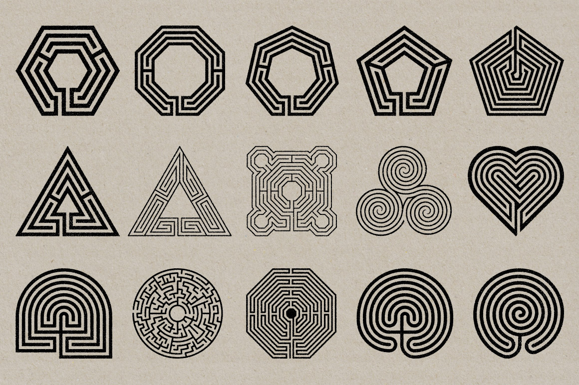 Labyrinth Stamps – 50 Vector & PNG Files