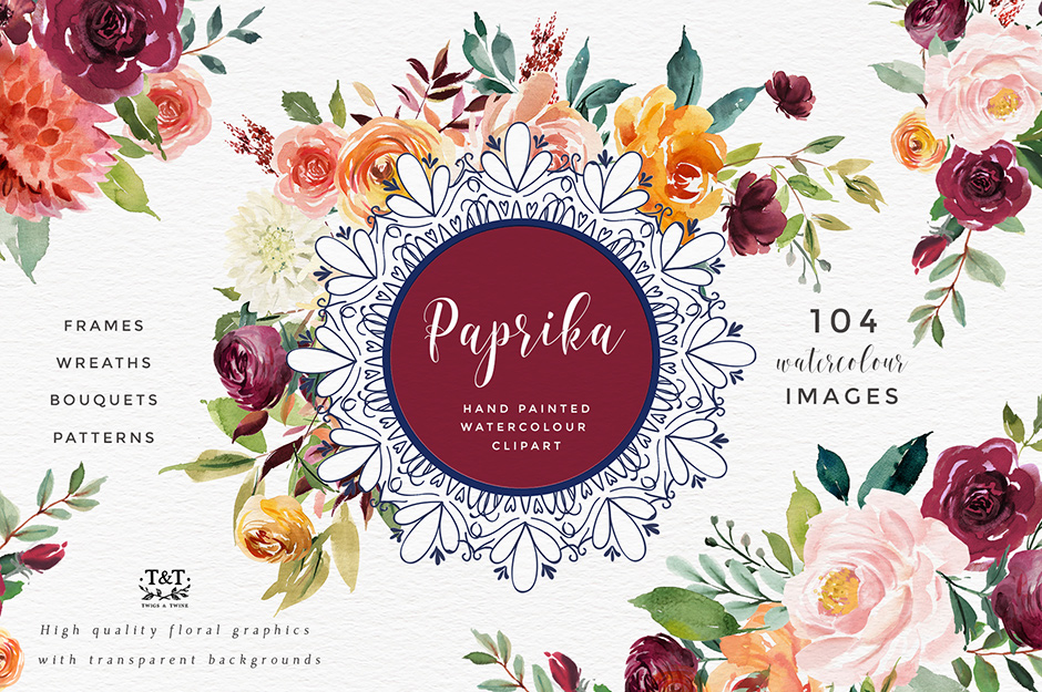 Paprika: Watercolor Flower Clipart
