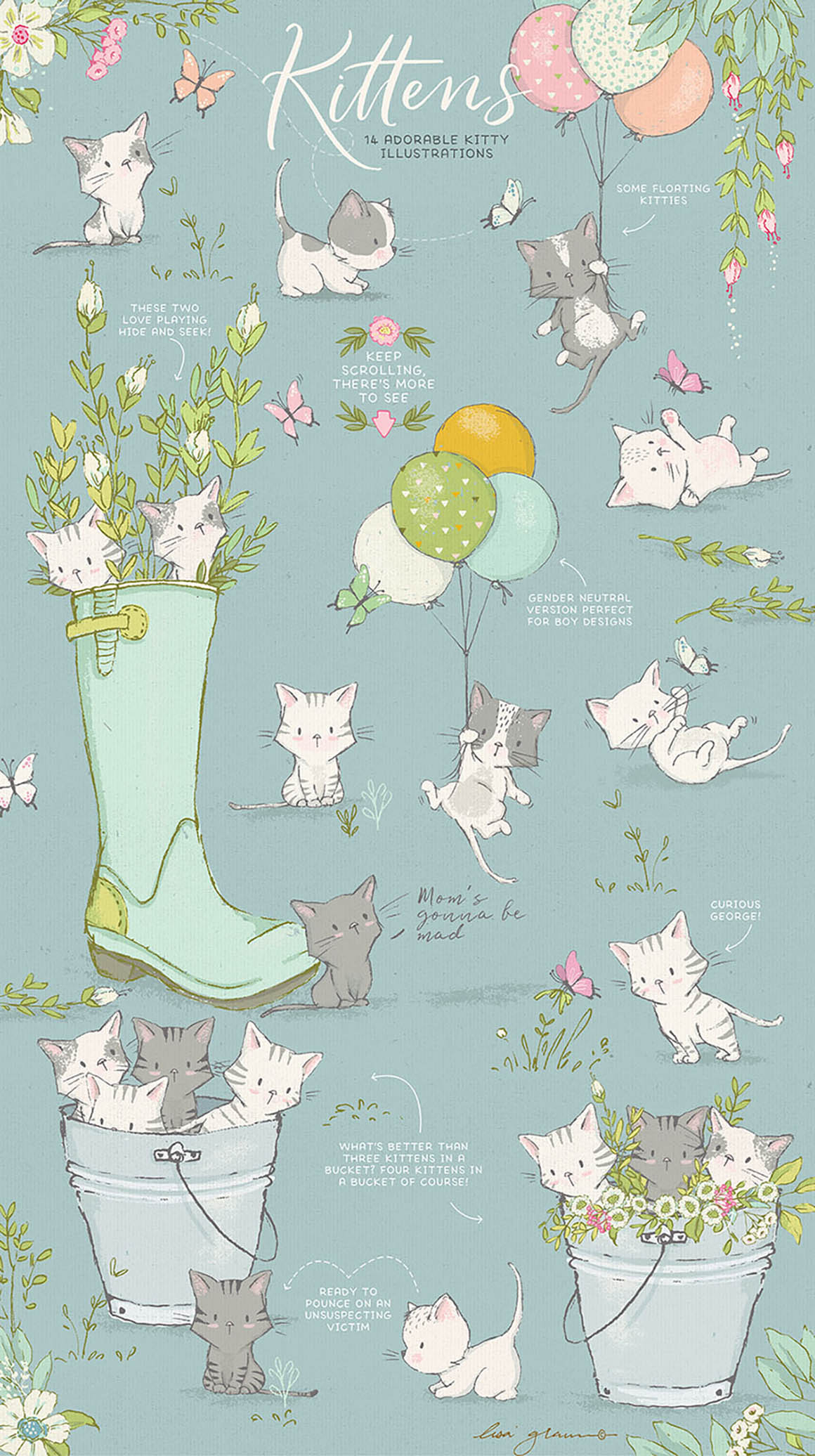 Spring Kittens & Flowers Graphics Bundle