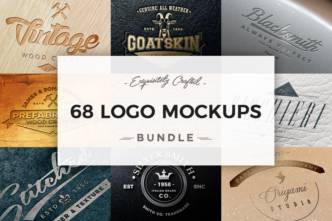 68 Logo Mockups Bundle